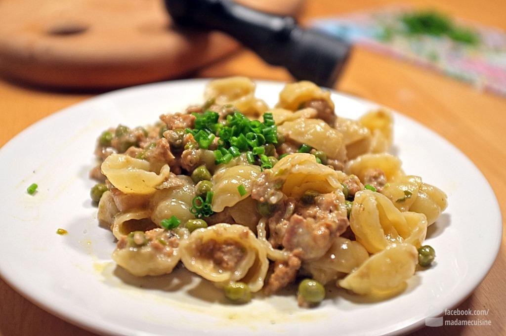 Pasta mit Artischocken, Erbsen und Huhn | Madame Cuisine Rezept