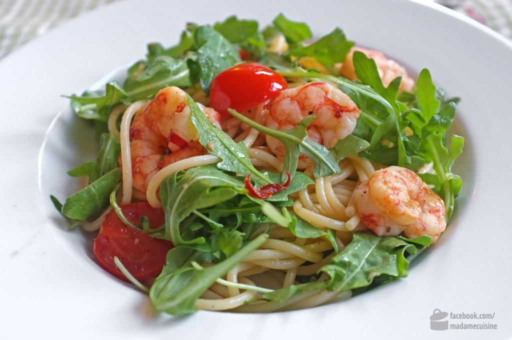 Spaghetti aglio e olio con Gamberetti | Madame Cuisine Rezept