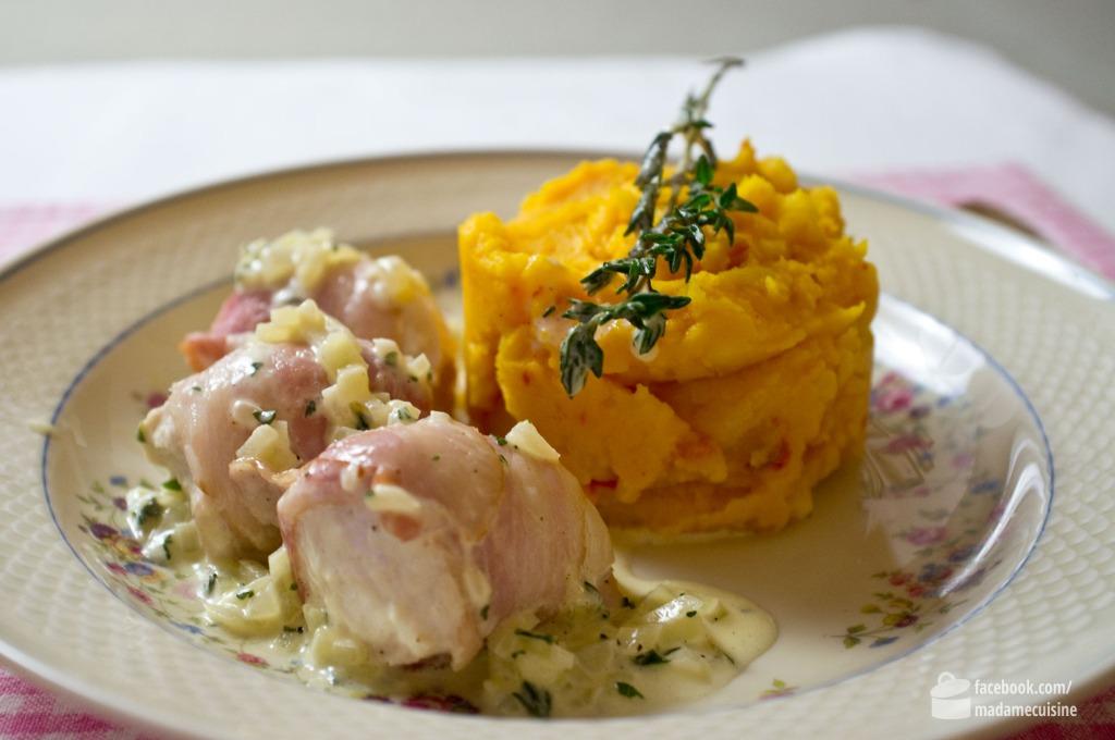 Dampfgegartes Hühnchen an Kürbis-Kartoffelstampf | Madame Cuisine Rezept