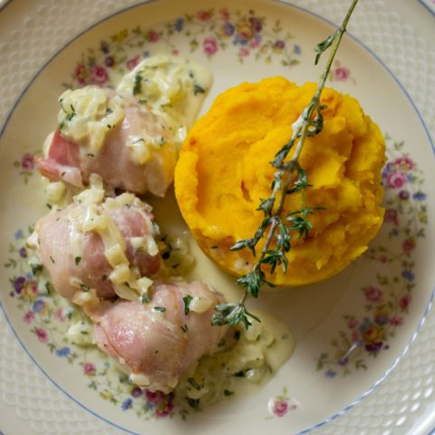 Dampfgegartes Hühnchen an Kürbis-Kartoffelstampf | Madame Cuisine