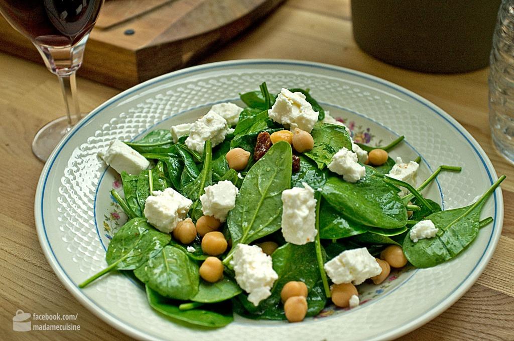 Arabischer Spinatsalat mit Kichererbsen & Rosinen | Madame Cuisine Rezept