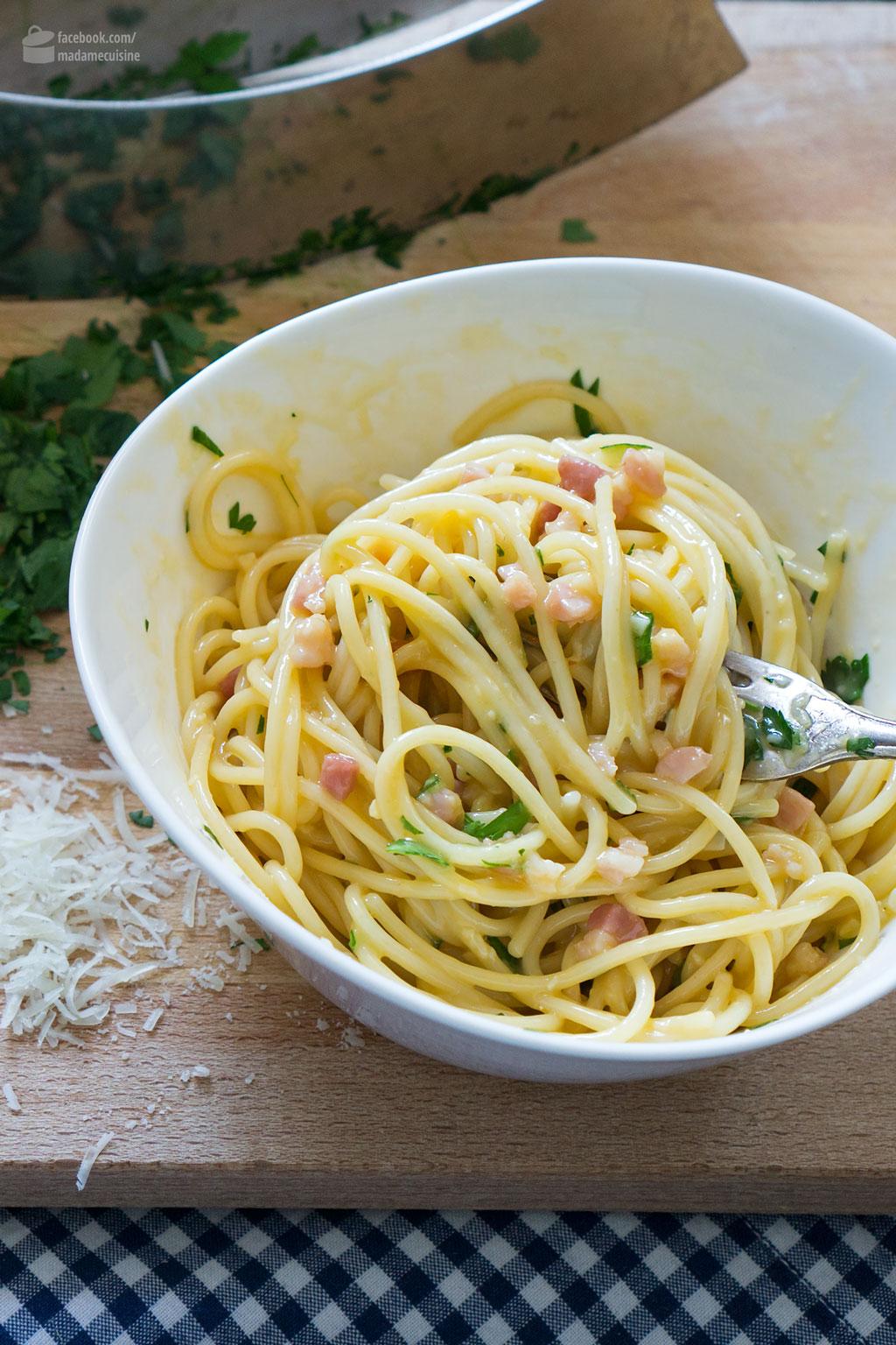 Spaghetti alla Carbonara: So gut wie das Original | Madame Cuisine Rezept