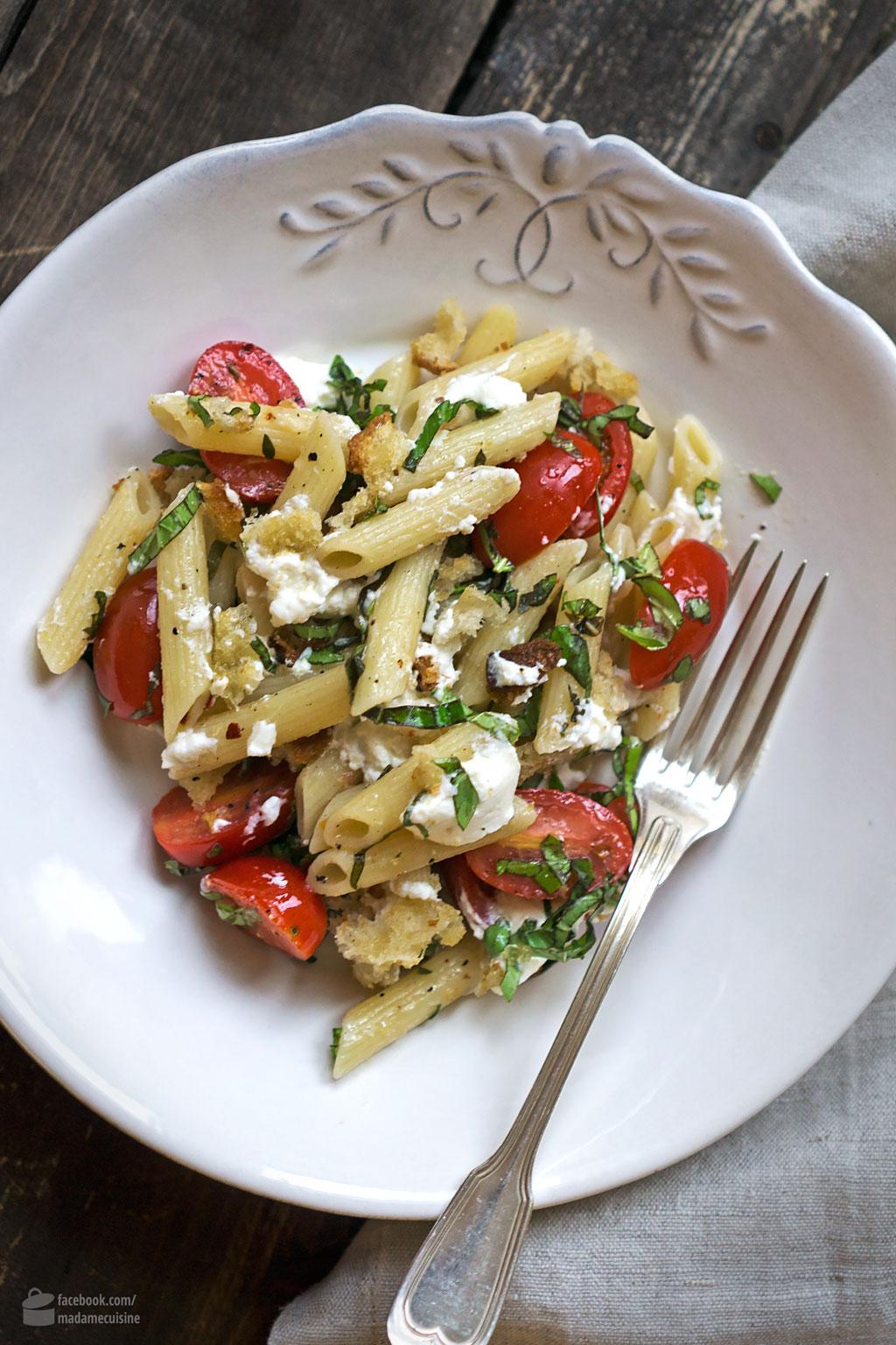 Lauwarmer Pasta-Salat mit Tomaten & Ricotta | Madame Cuisine Rezept