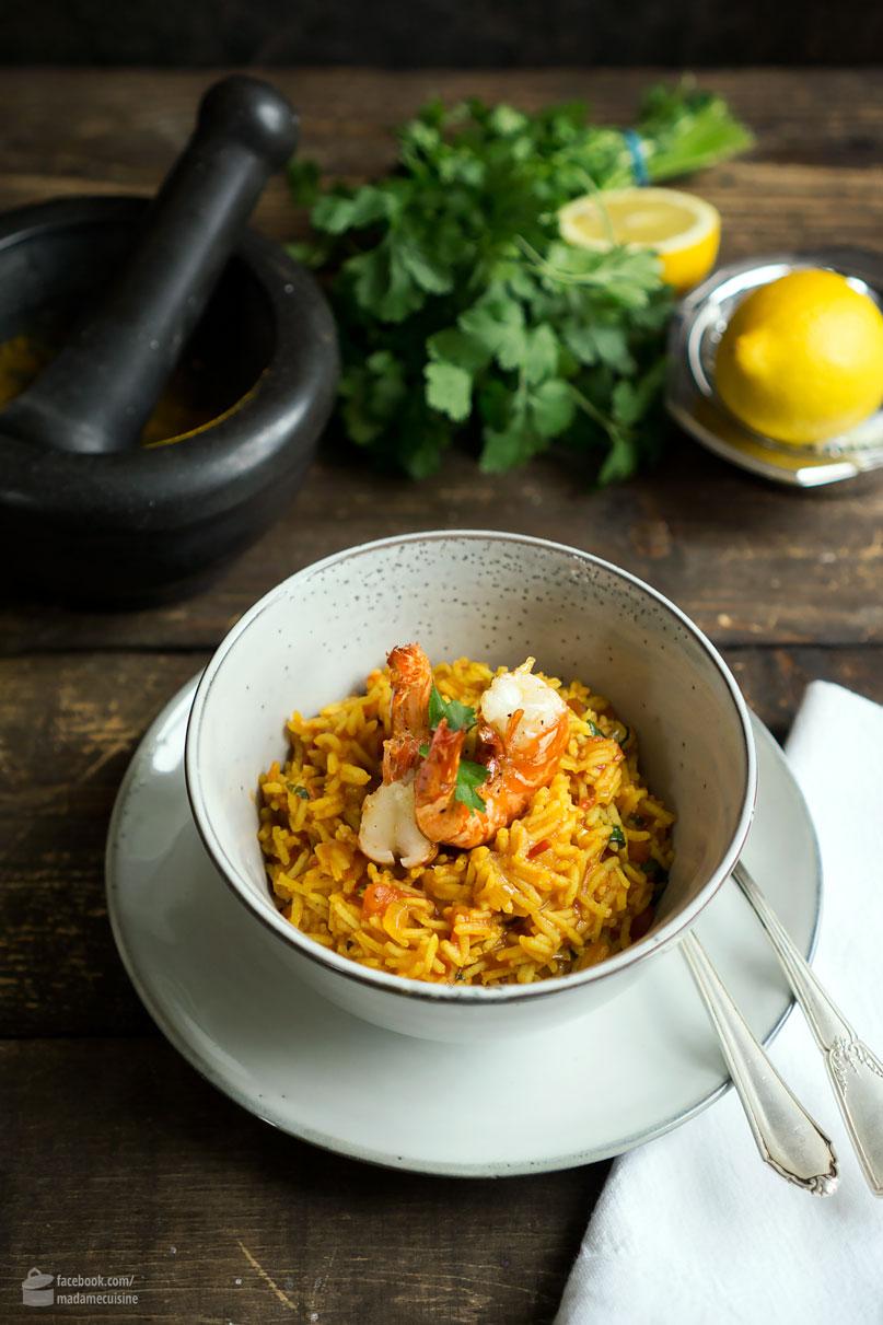Arabischer Gewürzreis mit gebratenen Garnelen | Madame Cuisine Rezept