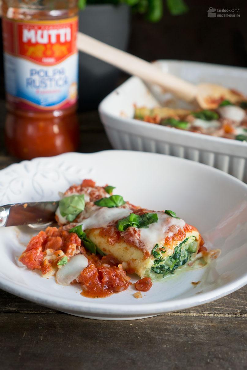 Crespelle mit Spinat-Füllung & Mutti-Parma Tomaten | Madame Cuisine Rezept
