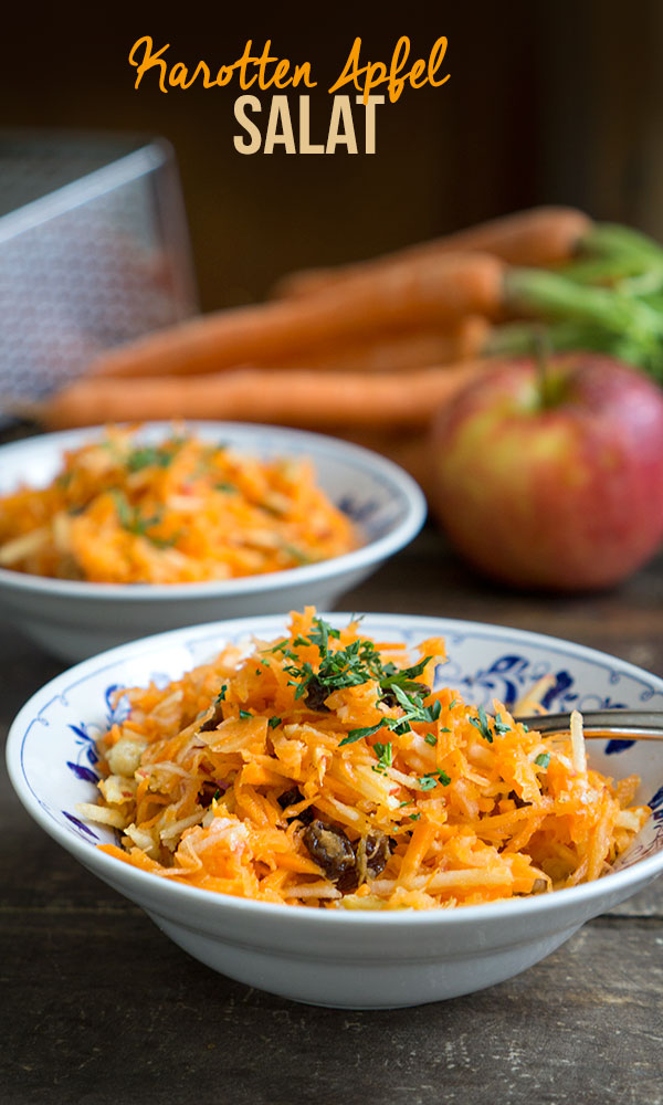 Karotten-Apfel-Salat (mit Ingwer, Rosinen & Nüssen) | Madame Cuisine Rezept