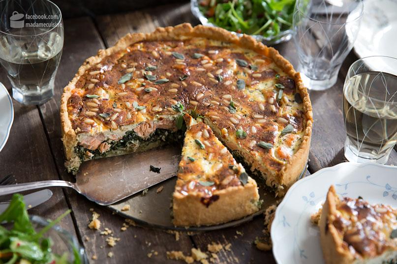 Lachs-Spinat-Kuchen (Quiche) aus der Springform - Madame Cuisine