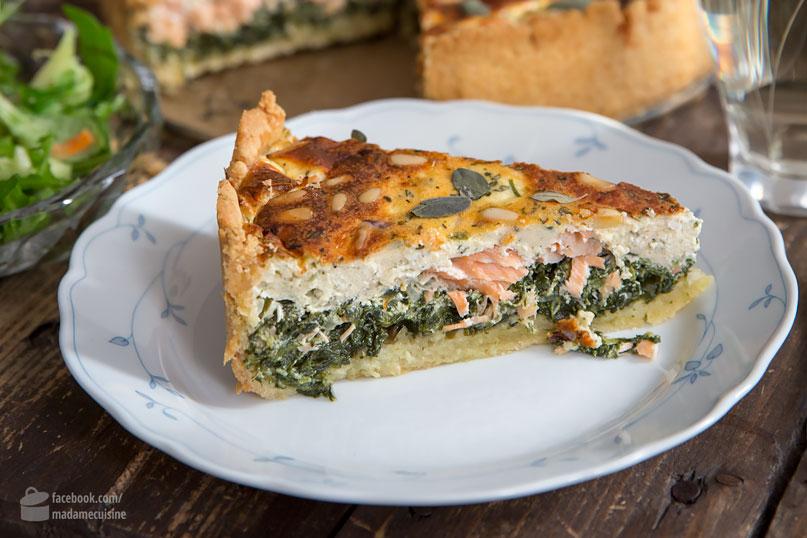 Lachs-Spinat-Kuchen (Quiche) aus der Springform | Madame Cuisine Rezept