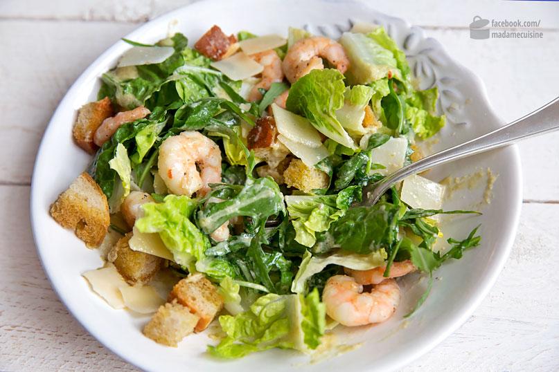 Caesar Salad mit gebratenen Garnelen | Madame Cuisine Rezept