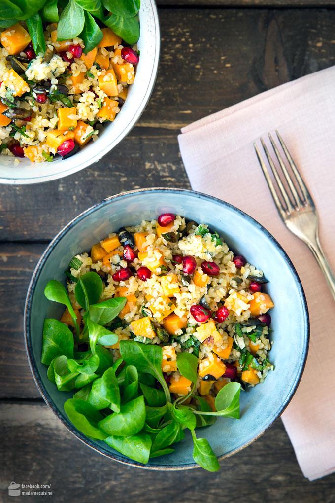 Kürbis-Bulgur-Salat mit Granatapfel | Madame Cuisine Rezept