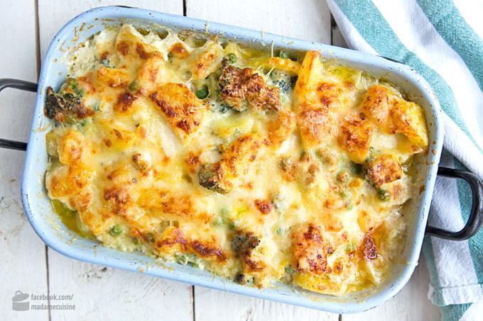 Kartoffel-Brokkoli-Auflauf mit Lachs