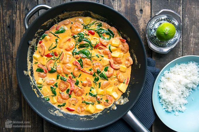 Garnelen-Curry mit Kokosmilch und Spinat | Madame Cuisine Rezept