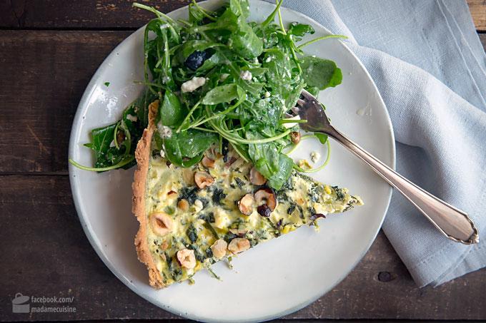 Buchweizentarte mit Spinat, Lauch & Nüssen | Madame Cuisine Rezept