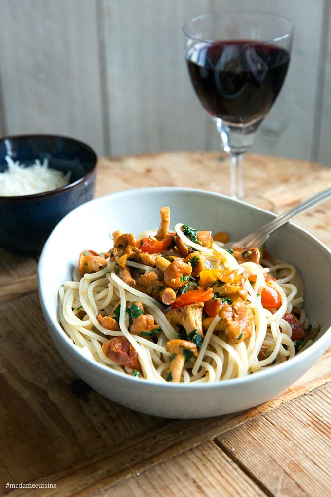 Spaghetti mit Pfifferlingen   Madame Cuisine Rezept