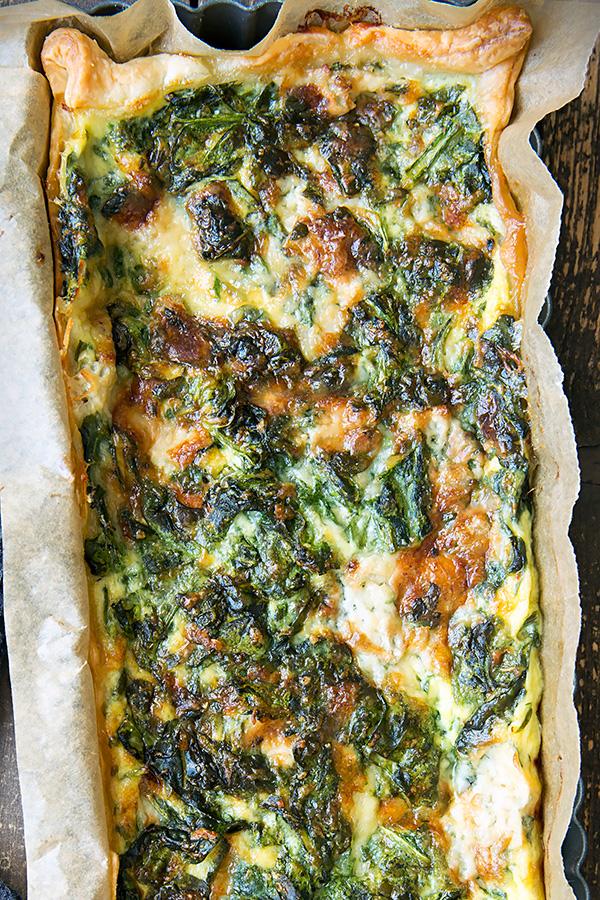 Tarte mit Spinat und Gorgonzola