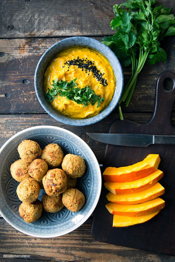 Kürbis-Hummus mit Falafel   Madame Cuisine Rezept