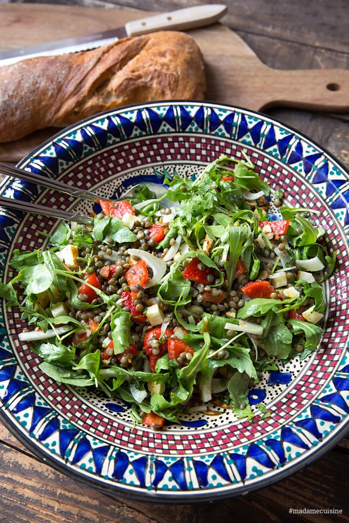 Linsensalat mit Fenchel, Rucola, Paprika & Halloumi | Madame Cuisine Rezept