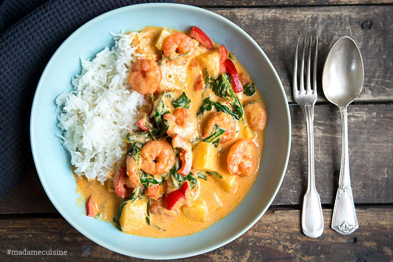Garnelen Curry mit Kokosmilch und Spinat   Madame Cuisine