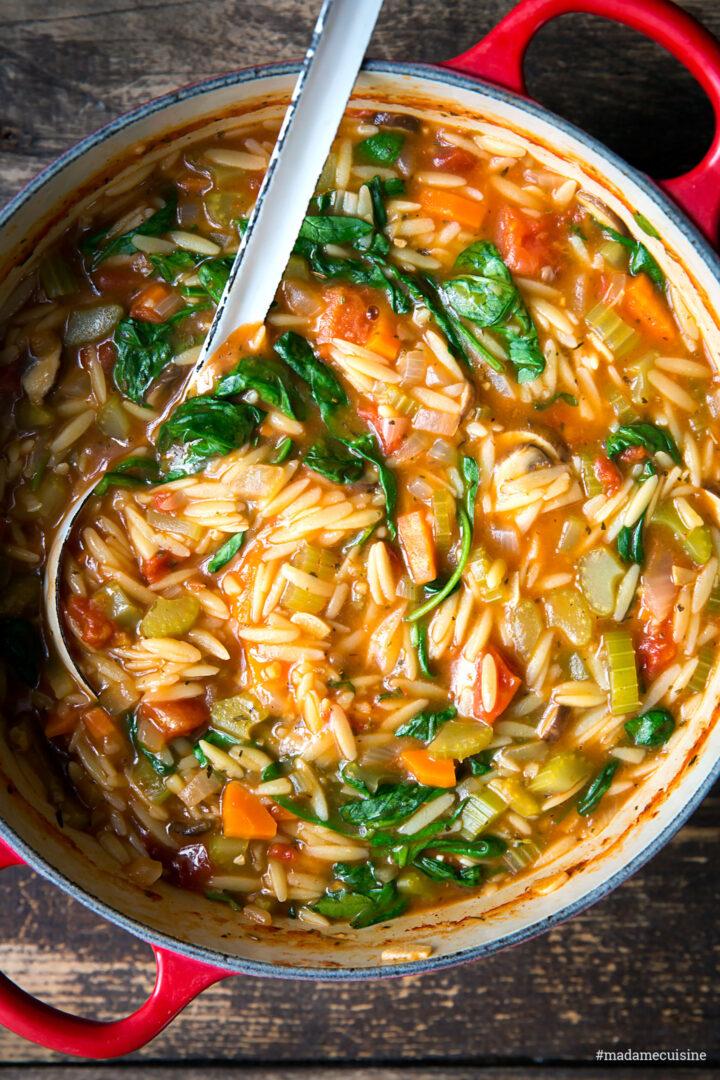 Orzo-Eintopf (Reisnudel-Eintopf) mit Spinat | Madame Cuisine Rezept
