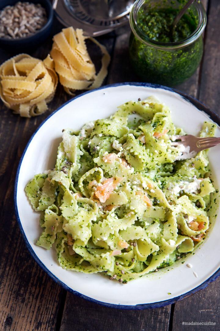Bärlauch-Pasta mit Lachs | Madame Cuisine Rezept