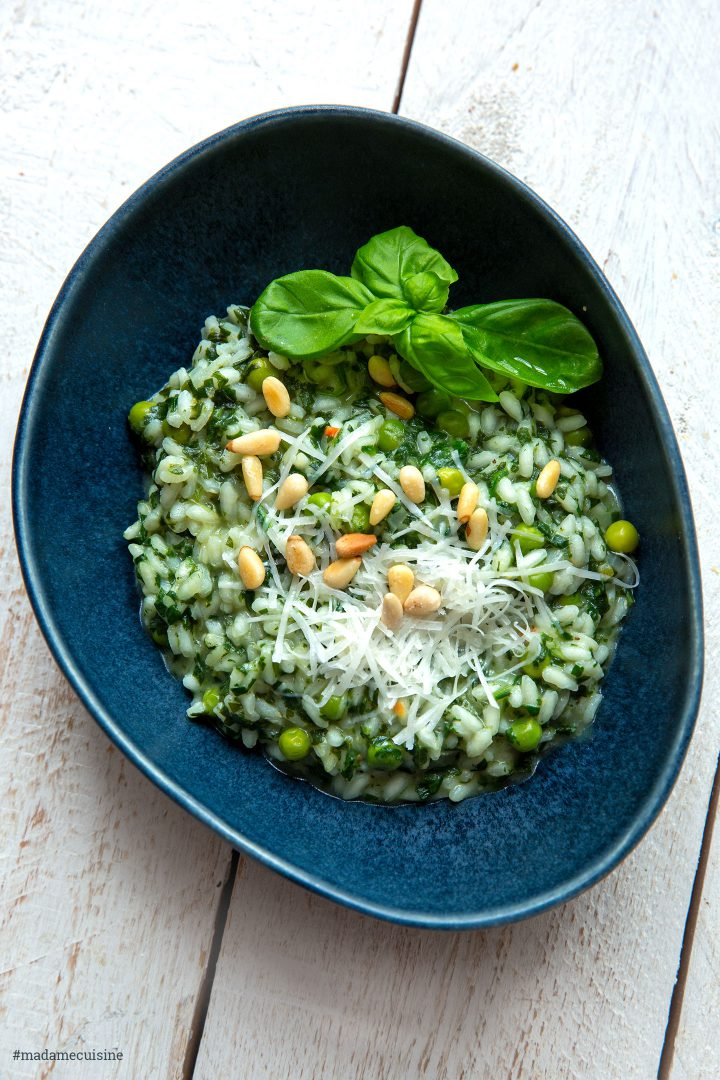 Frühlings-Risotto mit Erbsen und Spinat | Madame Cuisine Rezept