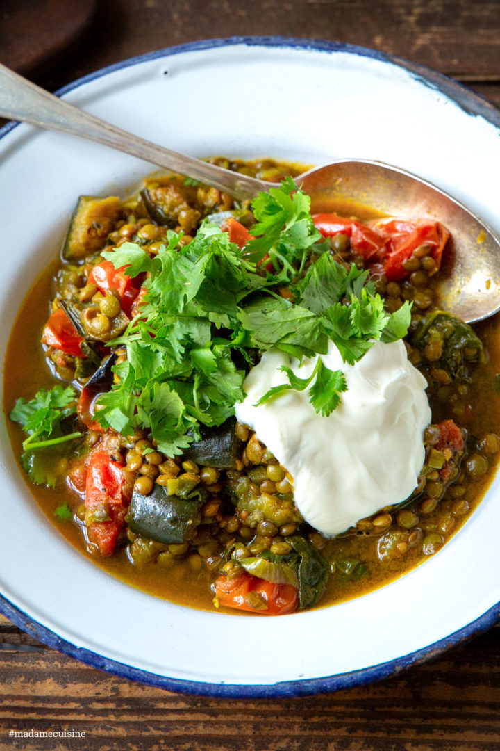 Linsen-Curry mit Auberginen und Tomaten | Madame Cuisine Rezept
