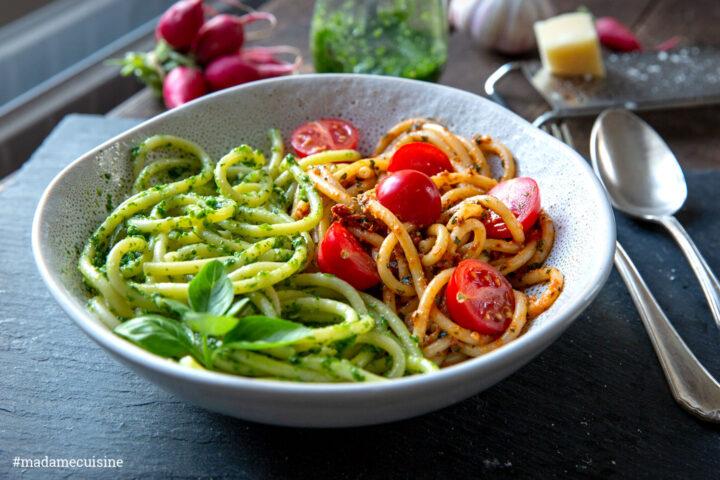 Spaghetti mit Tomaten- und Radieschen-Pesto | Madame Cuisine Rezept