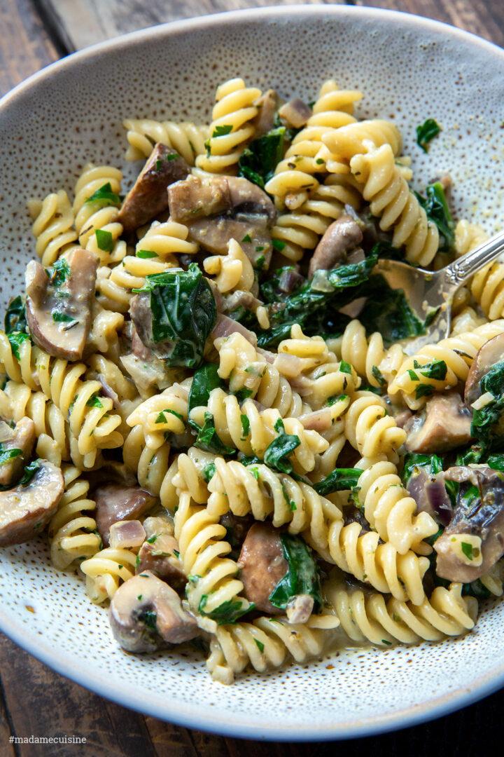 Cremige Champignon-Spinat-Pasta | Madame Cuisine Rezept