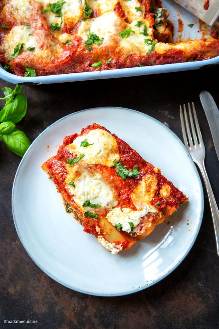 Spinat-Cannelloni mit Ricotta und Tomaten | Madame Cuisine Rezept
