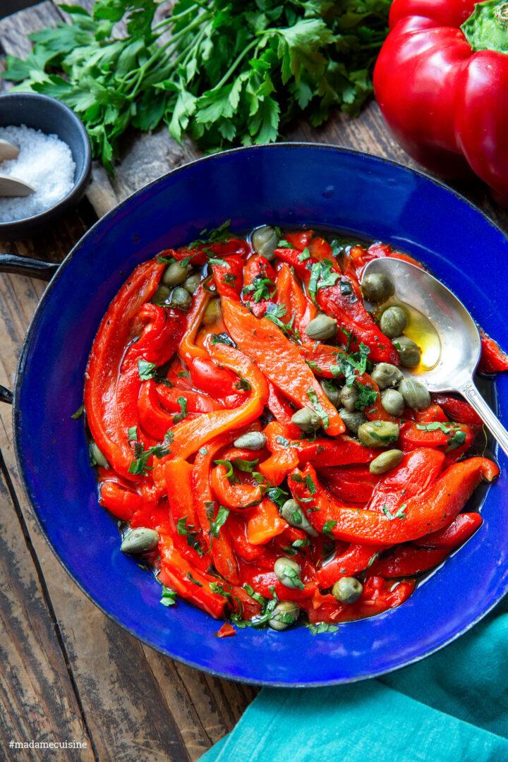 Marinierte Paprika mit Kapern (und Pasta)   Madame Cuisine Rezept