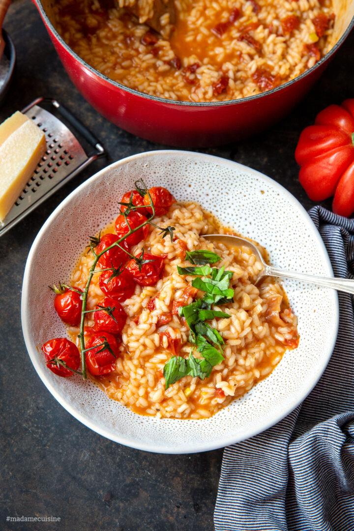 Tomaten-Risotto mit zweierlei Tomaten   Madame Cuisine Rezept